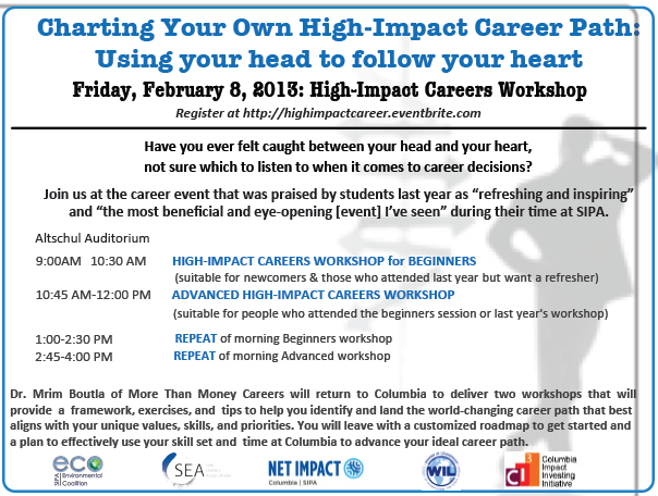 High-Impact Careers Workshop – Friday, February 8th