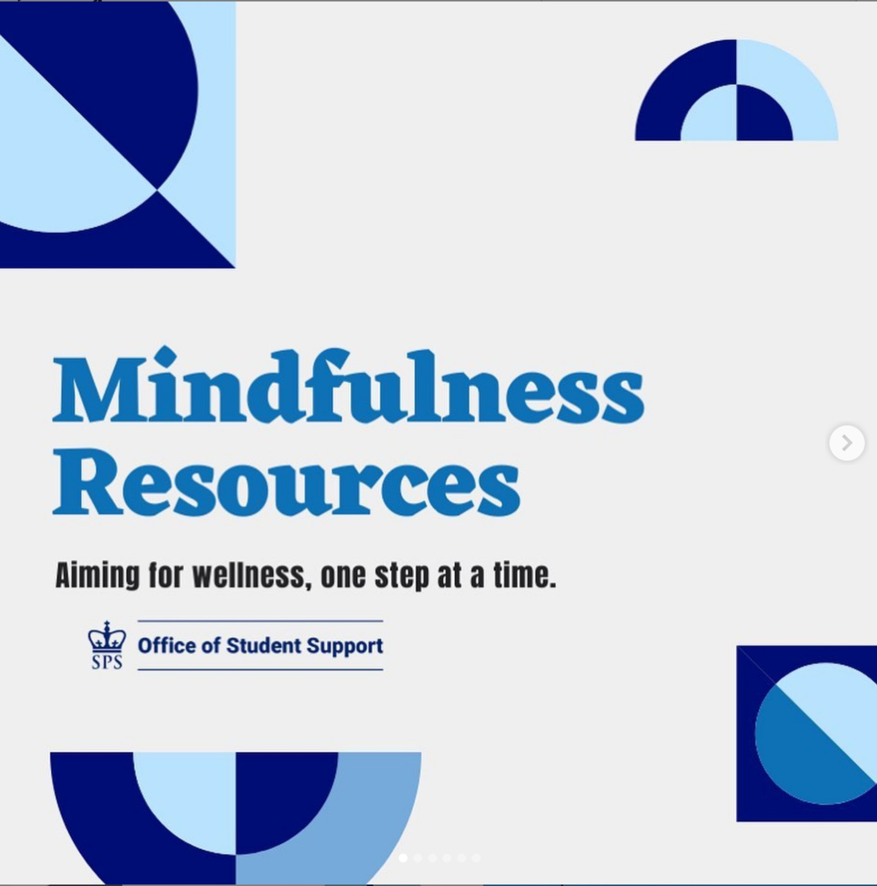 Mindfulness Resources thumbnail links to SPS Instagram post